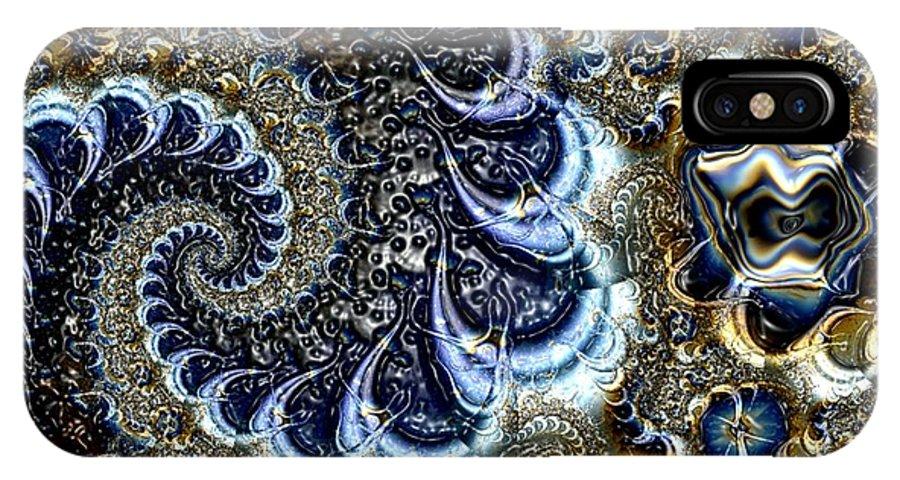 Fractal Diamonds Blue Jewel Dance River IPhone X Case featuring the digital art The Blue Diamonds by Veronica Jackson