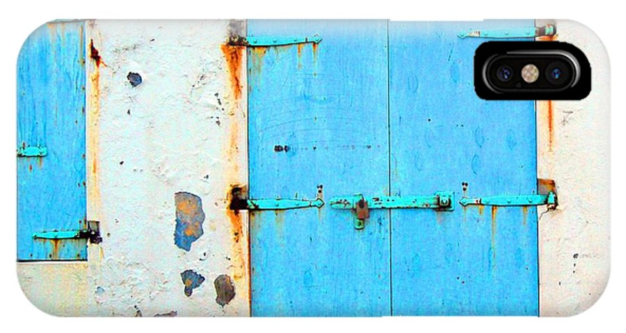 Door IPhone X Case featuring the photograph The Blue Door Shutters by Debbi Granruth