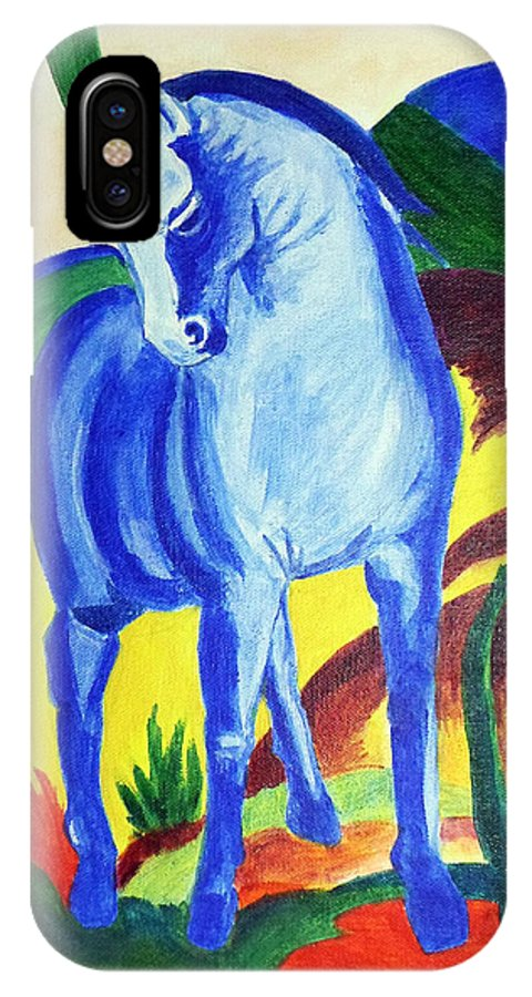 Horse IPhone X Case featuring the painting The Blue Horse Franc Marz by Asha Sudhaker Shenoy