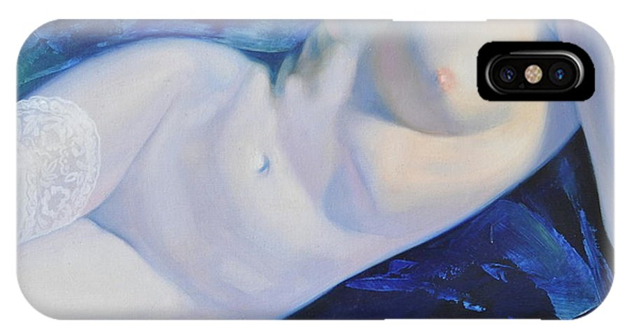 Art IPhone X Case featuring the painting The Blue Ice by Sergey Ignatenko