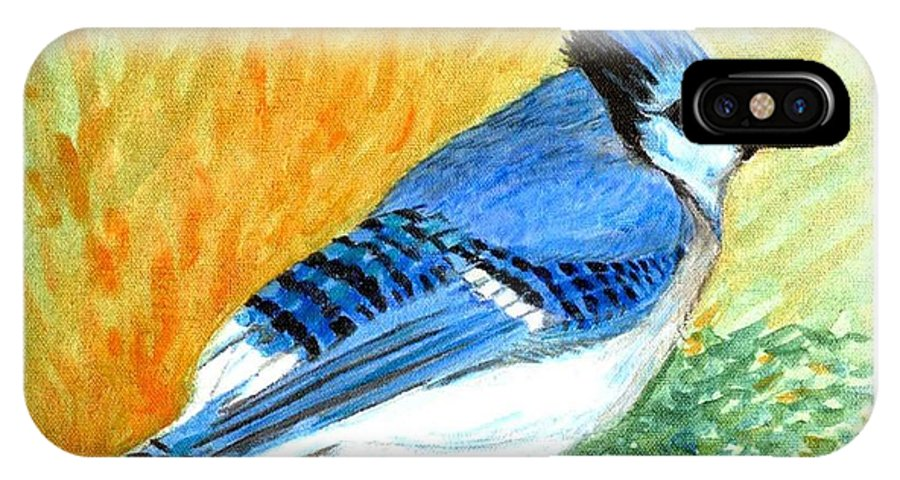 Bird IPhone Case featuring the painting The Blue Jay by Asha Sudhaker Shenoy