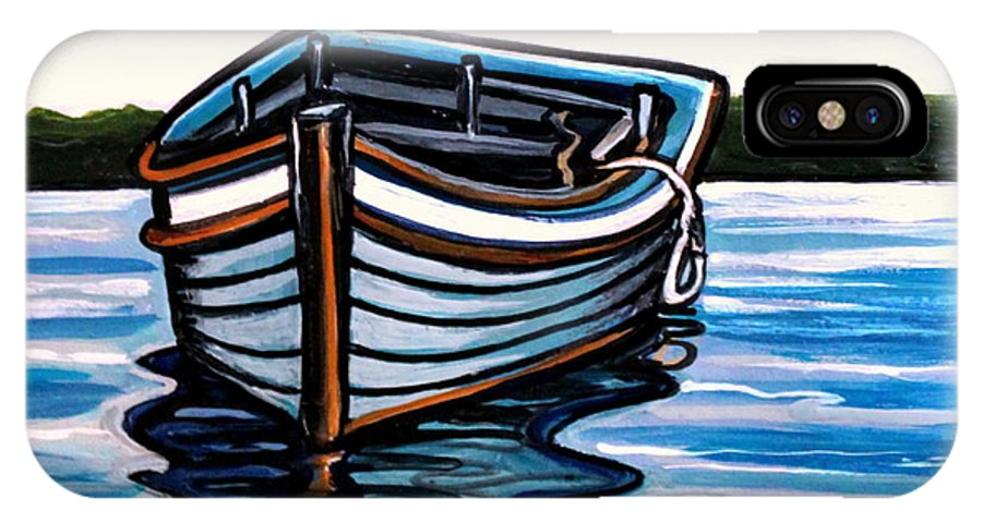 Blue IPhone X Case featuring the painting The Blue Wooden Boat by Elizabeth Robinette Tyndall