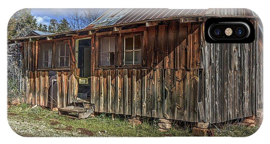 Structure Building Cabin Bunk House Boars Nest Old Aged Decayed Deteriorated Abandoned Private History Memories Stories Landscape Nature Grass Trees Sky Clouds Color Red Green Blue Hdr Pine Northern Arizona IPhone X Case featuring the photograph The Boars Nest by Thomas Todd