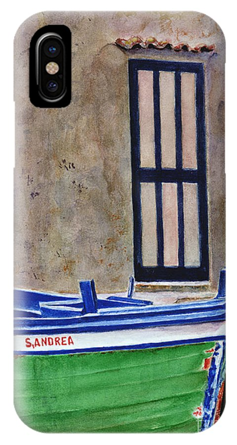Boat IPhone X / XS Case featuring the painting The Boat by Karen Fleschler
