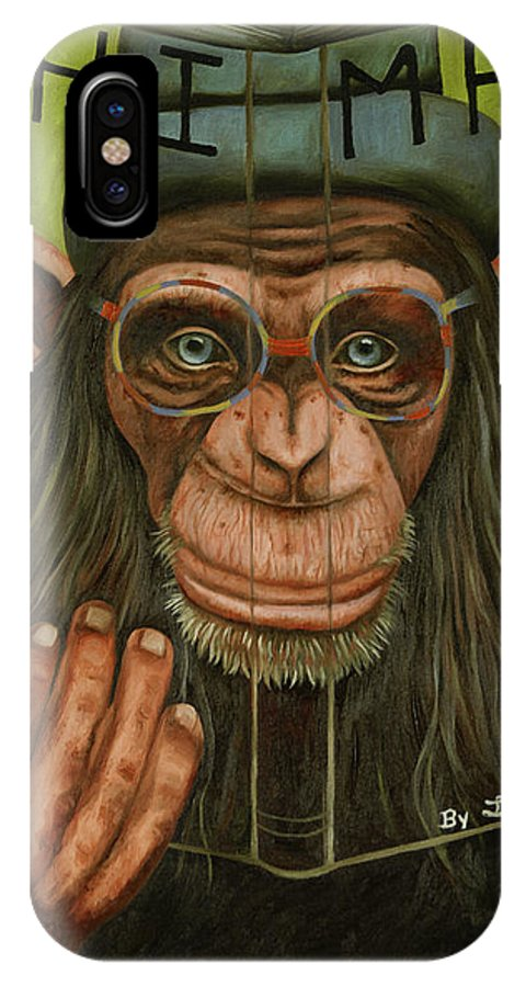 Chimp IPhone X Case featuring the painting The Book Of Chimps by Leah Saulnier The Painting Maniac