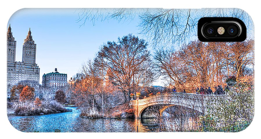 The Bow Bridge IPhone X / XS Case featuring the photograph The Bow Bridge In Central Park by Randy Aveille