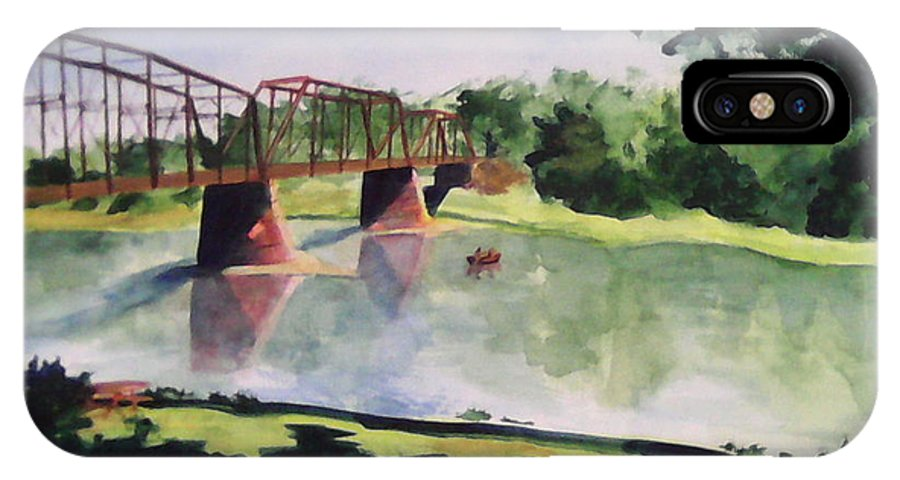 Bridge IPhone X Case featuring the painting The Bridge at Ft. Benton by Andrew Gillette