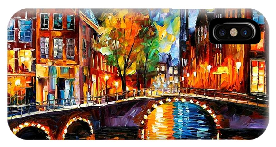 Afremov IPhone X Case featuring the painting The Bridges Of Amsterdam by Leonid Afremov