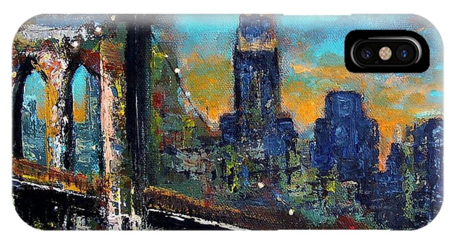Bridges IPhone X Case featuring the painting The Brooklyn Bridge by Frances Marino