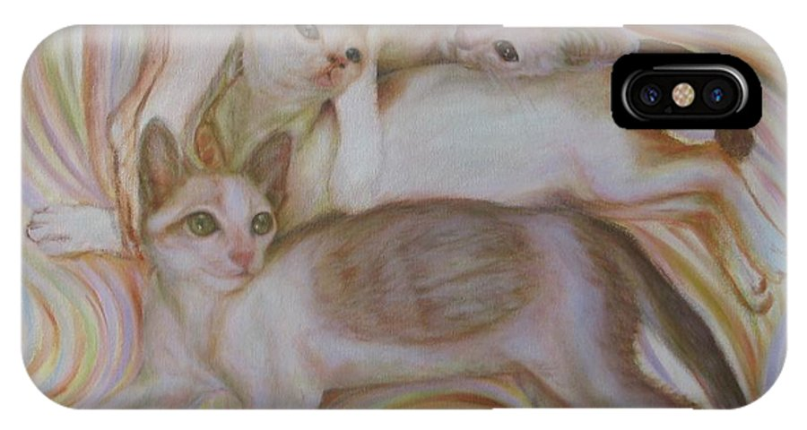 Cat IPhone X Case featuring the painting The Brothers by Sukalya Chearanantana