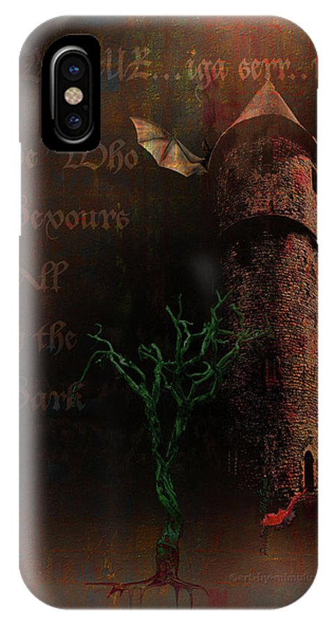 Lovecraft IPhone X Case featuring the digital art The Brown Tower by Mimulux patricia No