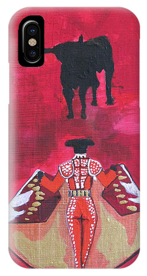 Spanish Art IPhone X / XS Case featuring the painting The Bull Fight No.1 by Patricia Arroyo