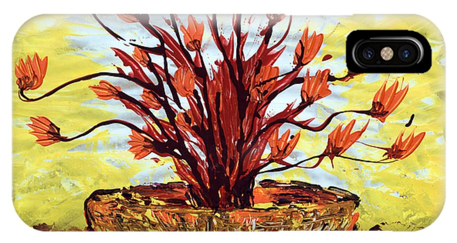Red Bush IPhone Case featuring the painting The Burning Bush by J R Seymour