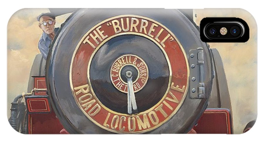Traction Engine IPhone X Case featuring the painting The Burrell Road Locomotive by Richard Picton