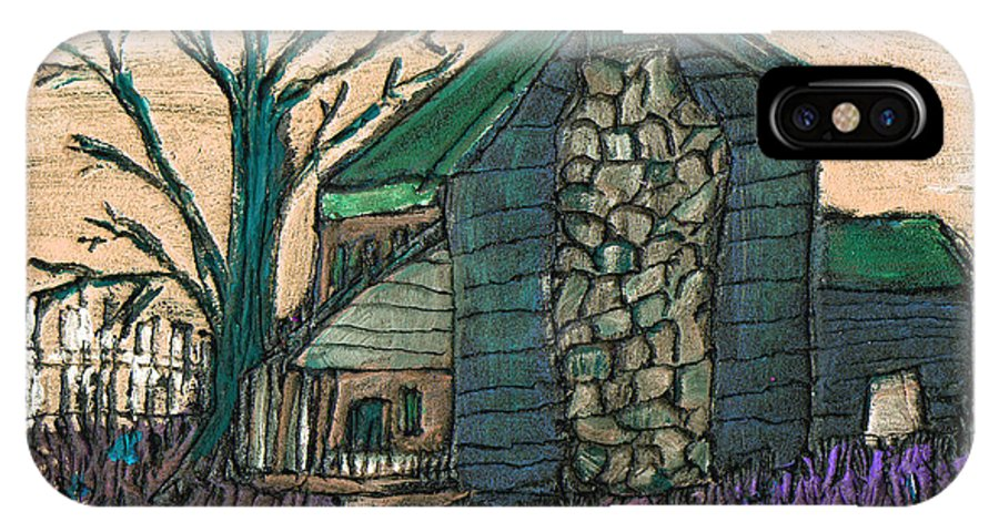 Cabin IPhone X Case featuring the painting The Cabin 2 by Wayne Potrafka