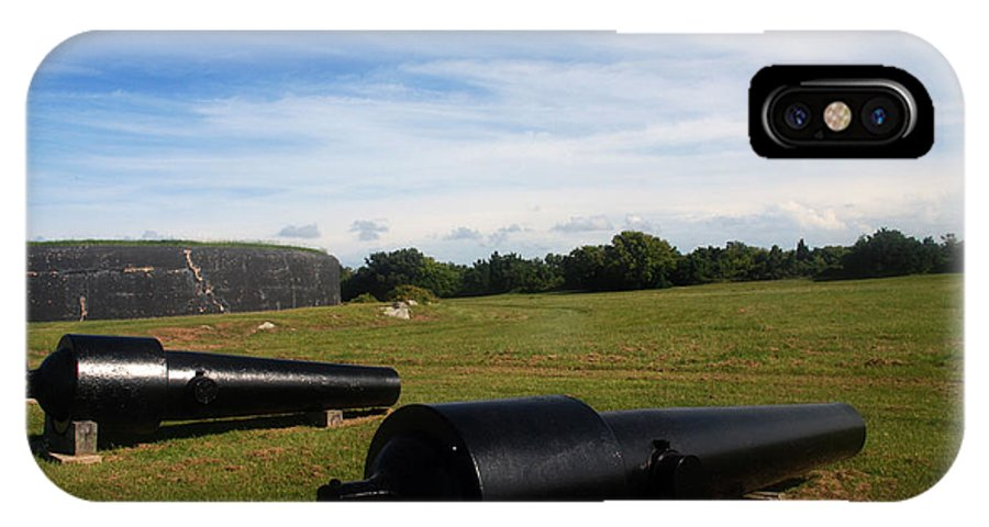 Photography IPhone X Case featuring the photograph The Cannons At Fort Moultrie In Charleston by Susanne Van Hulst