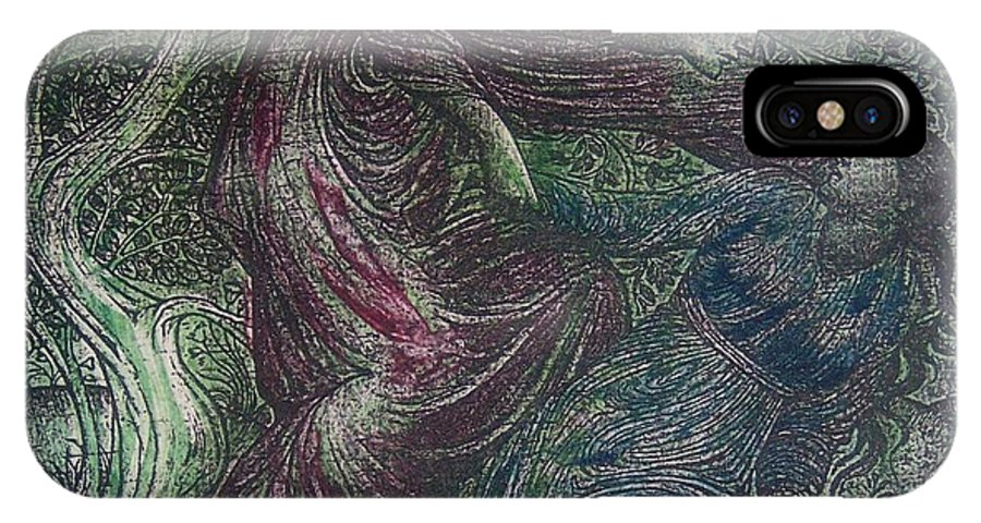 Man IPhone X Case featuring the mixed media The Capture by Emily Young
