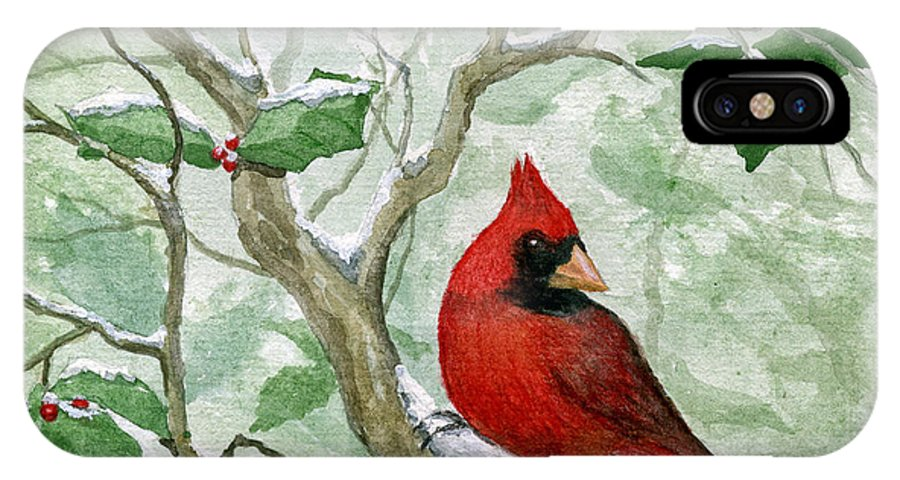 Cardinal IPhone X Case featuring the painting The Cardinal by Mary Tuomi