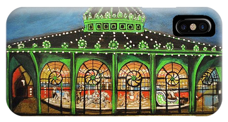 Asbury Park IPhone X Case featuring the painting The Carousel of Asbury Park by Patricia Arroyo