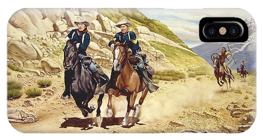 Western IPhone X Case featuring the painting The Chase by Marc Stewart