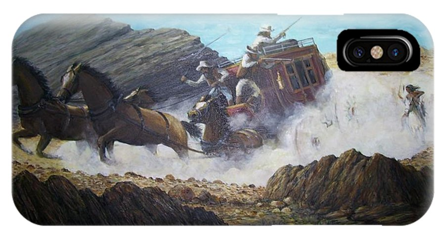 Western Art IPhone X Case featuring the painting The Chase by Perry's Fine Art
