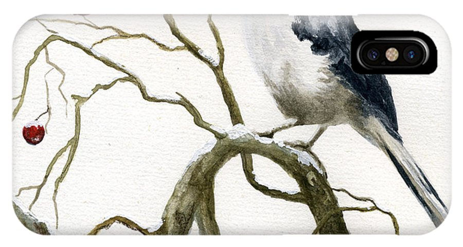 Birds IPhone X Case featuring the painting The Chickadee by Mary Tuomi