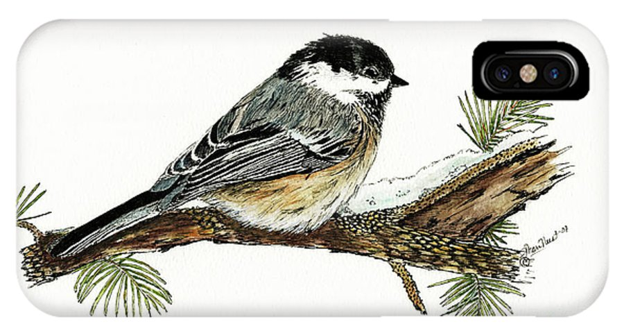 Chickadee IPhone X Case featuring the painting The Chickadee by Shari Nees