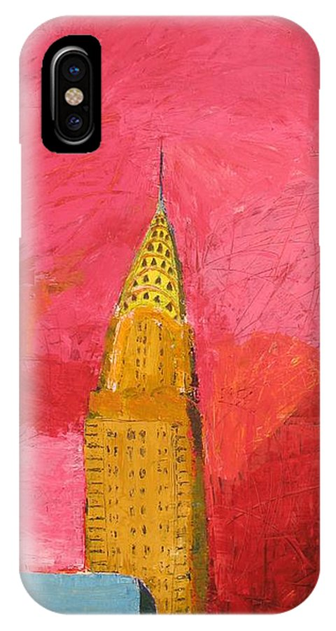 Nyc IPhone X Case featuring the painting The Chrysler With Red by Habib Ayat