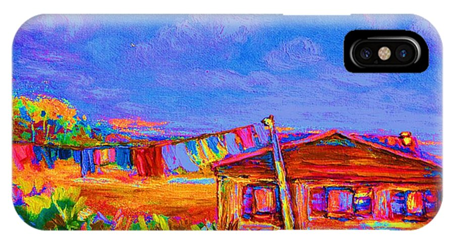 Clothesline Scenes IPhone X Case featuring the painting The Clothesline by Carole Spandau