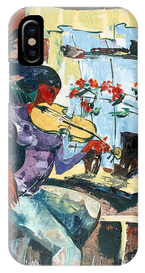 Music IPhone X Case featuring the painting The Color of Music by Elisabeta Hermann