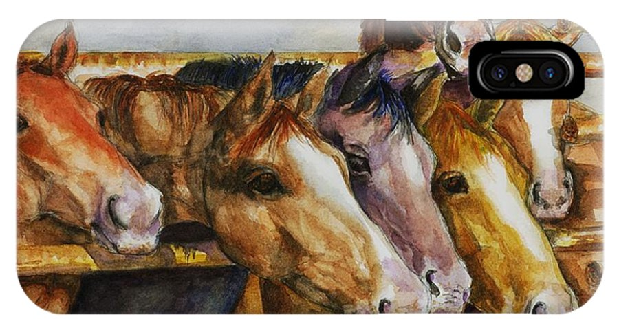 Horses IPhone X Case featuring the painting The Colorado Horse Rescue by Frances Marino