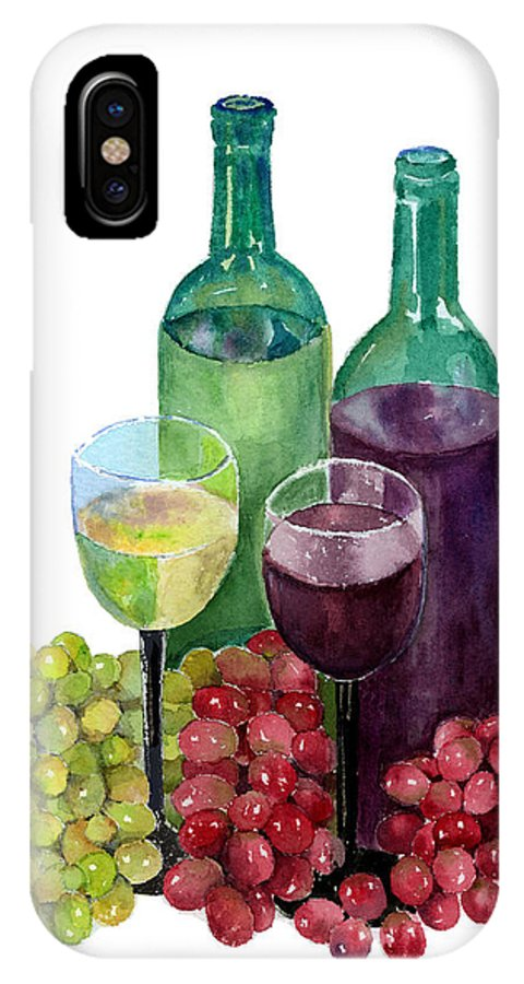 Wine IPhone X Case featuring the painting The Colors Of Wine by Arline Wagner