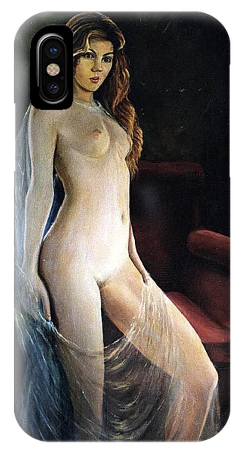 Nude IPhone X Case featuring the painting The Coquette Adolescent by Vasilis Bottas