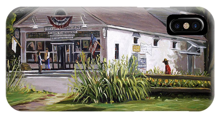 Buildings IPhone X Case featuring the painting The Country Store by Nancy Griswold