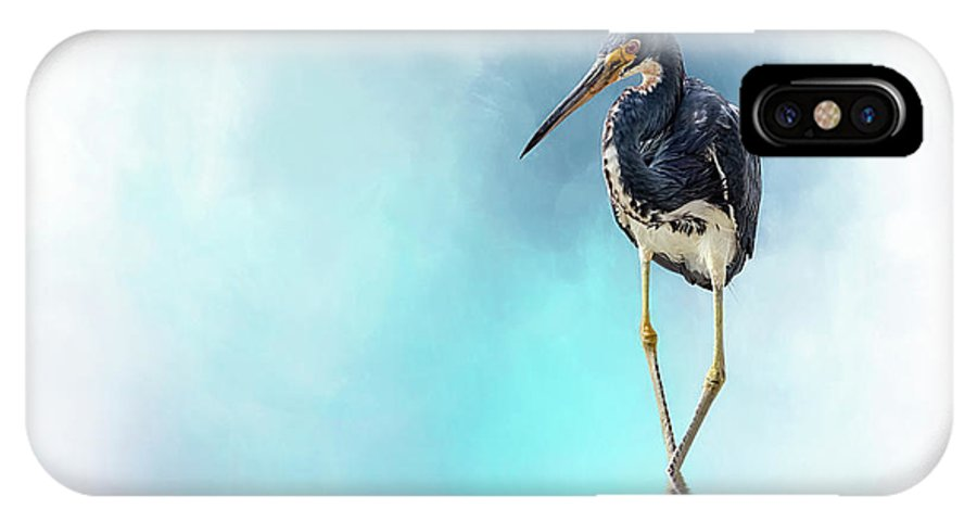 Heron IPhone X Case featuring the digital art The Cowboy by Cyndy Doty