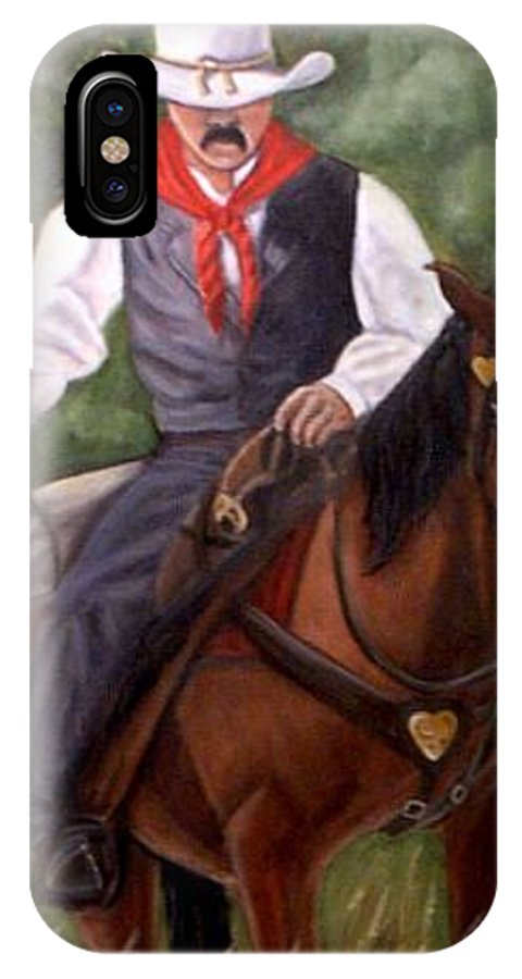Portrait IPhone X Case featuring the painting The Cowboy by Toni Berry