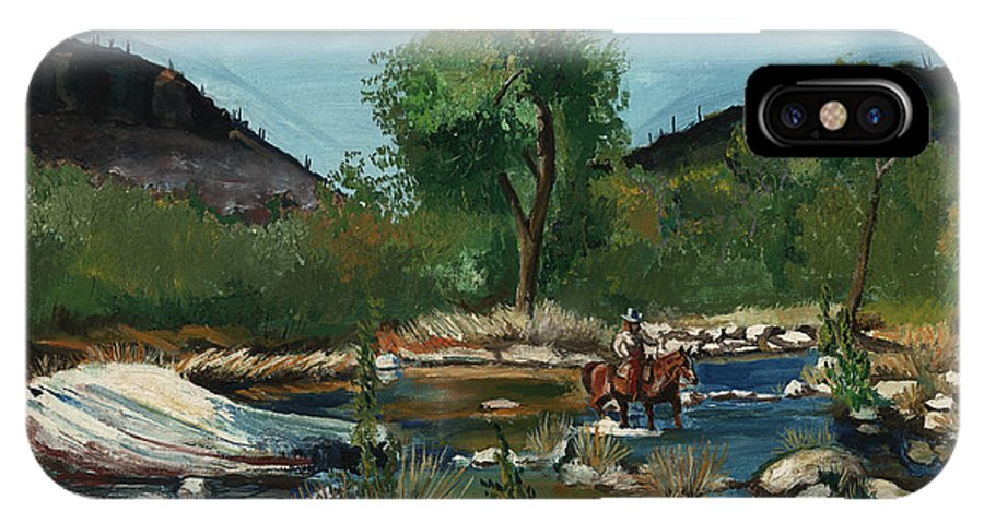 Western IPhone X Case featuring the painting The Crossing by Timothy Tron