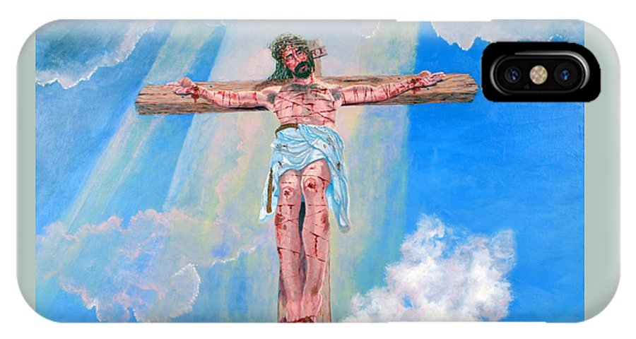 Christian IPhone Case featuring the painting The Crucifixion Daytime by Stan Hamilton