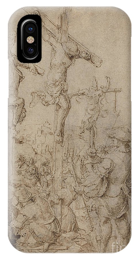 IPhone X Case featuring the drawing The Crucifixion by Netherlandish 16th Century