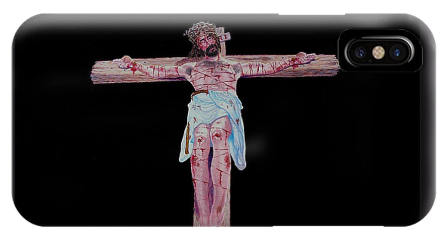 Crucifixion IPhone X Case featuring the painting The Crucifixion by Stan Hamilton