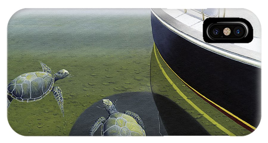 Sail Boat IPhone Case featuring the painting The Curiosity Of Sea Turtles by Gary Giacomelli
