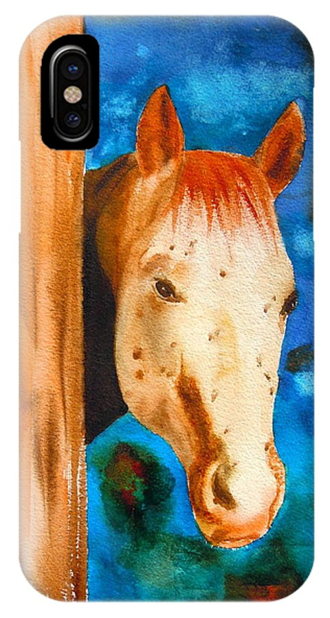 Sharon Mick IPhone X Case featuring the painting The Curious Appaloosa by Sharon Mick