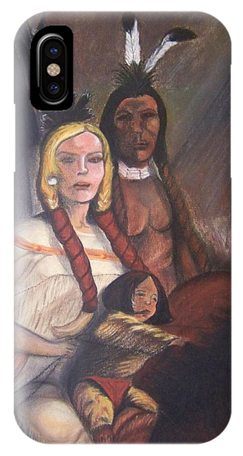 Artwork IPhone Case featuring the painting The Cynthia Ann Parker Family by Laurie Kidd