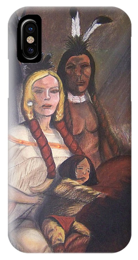 Artwork IPhone X Case featuring the painting The Cynthia Ann Parker Family by Laurie Kidd