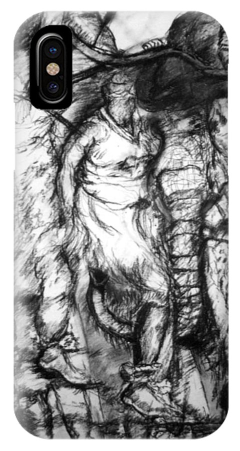 African Art IPhone X Case featuring the drawing The Dance by Arlene Rabinowitz