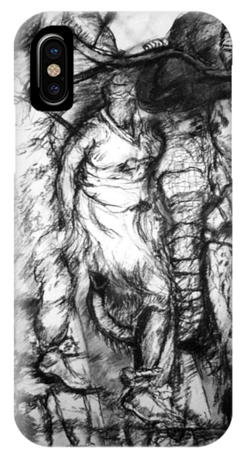 Pastel; Graphite; Fragmanted Art; Tribal Dancing; Visual Music Art;dancing IPhone X Case featuring the drawing The Dance by Arlene Rabinowitz
