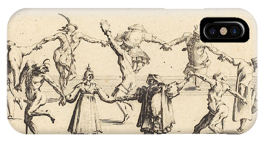 IPhone X Case featuring the drawing The Dance by Jacques Callot