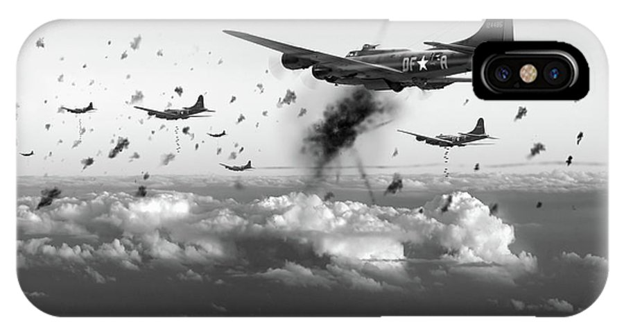 Flying Fortress IPhone X Case featuring the photograph The Day Job Black And White Version by Gary Eason