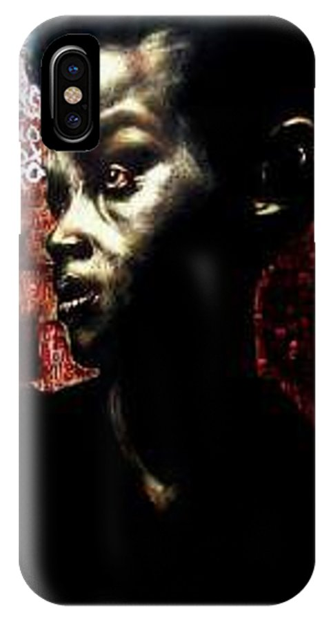 Portrait IPhone X Case featuring the mixed media The Day We First Met by Chester Elmore