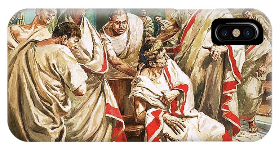 Julius Caesar; Rome; Senate; Senators; Assassination; Murder; Knife; Ides Of March IPhone X Case featuring the painting The Death Of Julius Caesar by C L Doughty